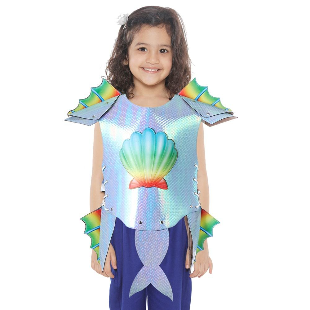 Roleparty Wholesale Stock Carnival PU Leather Mini Armour Decoration Fancy Dress Kids Mermaid Costume For Girl.