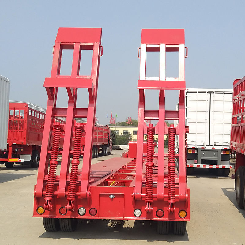 CE [ 40ton Flatbed Semi Trailer ] 60ton Low Bed Truck Trailer 30 Ton 40ton 45ton 60ton Industrial Low Bed Flatbed Semi Truck Trailer