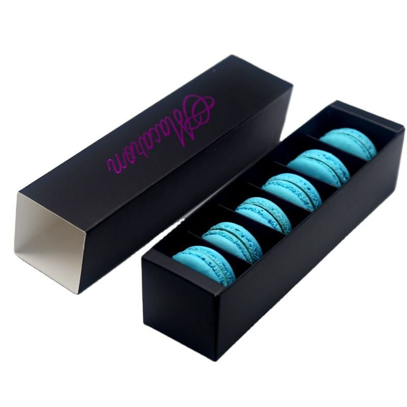 Customized Luxury Black Gift Food Biscuit Macaron Packing Box Sweet Cookie Packaging Paper Macaron Box