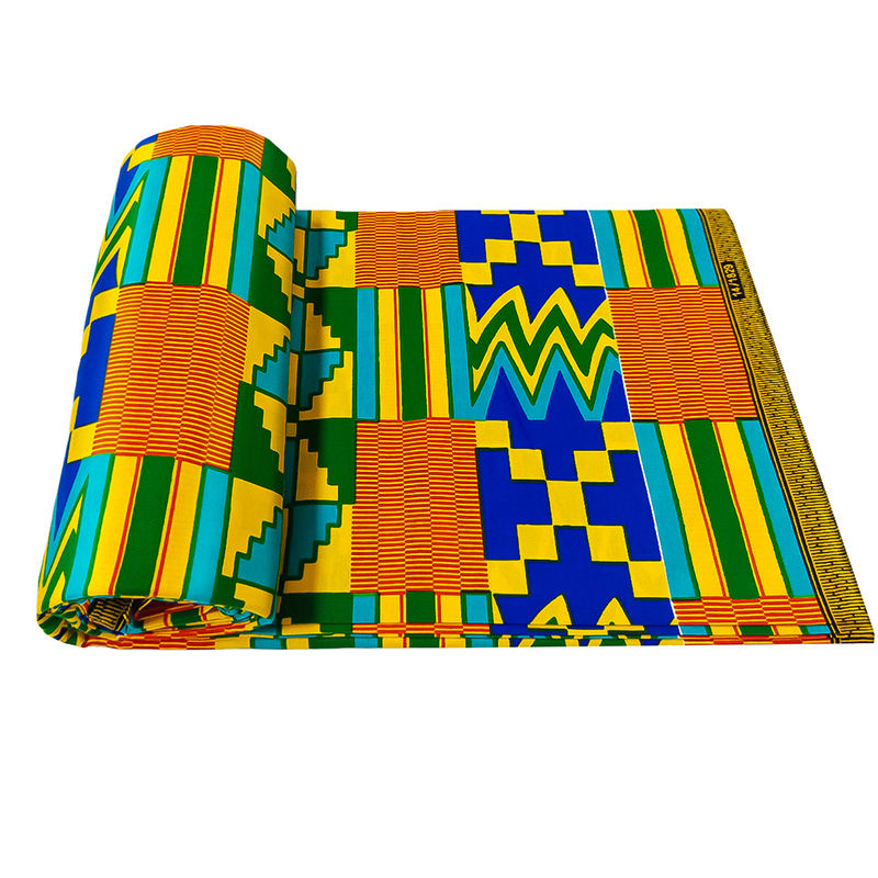 Wholesale african kente cloth fabric prints 6 yards real wax for sofa fabric hitarget wax fabric