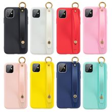 Amazon Hot Selling Candy Color Blank Jelly Phone Case With Wrist Band For Iphone 11 Xi Pro