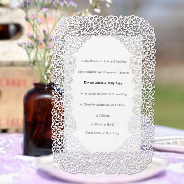 Hot selling party decoration laser cut menu wedding card invitation