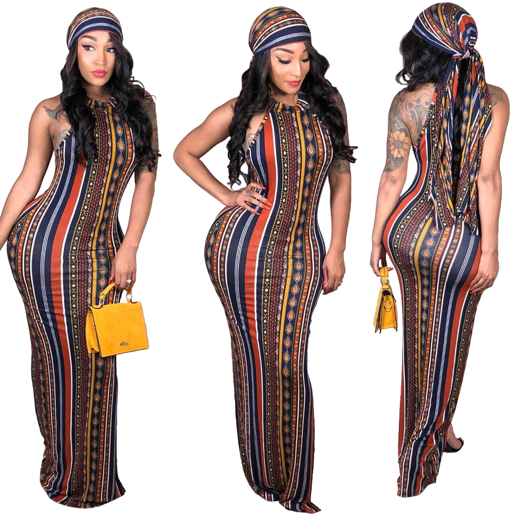 New design lady striped long boho summer women Bodycon Dress bohemian fashion maxi dress with great price