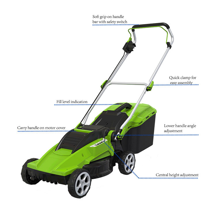 1600w hand push plastic deck electric grass reel lawn mower