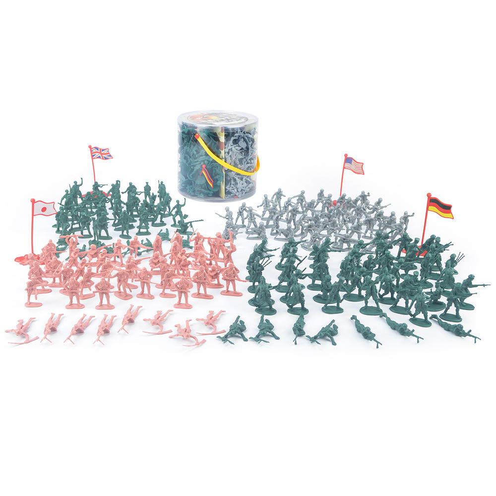 Army Men Action Figures with 200 Toy Soldiers of WWII Big Bucket of Life-like Military Men in Realistic Poses 4 World War II