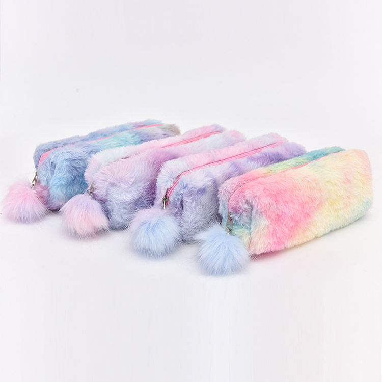 Creative Girls Colorful Cute Fur Pencil Bag School Pink Purple Gradient Plush Pencil Case
