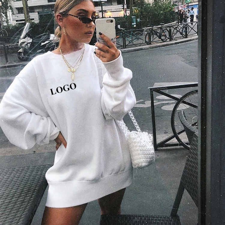 New Arrival Custom Logo Oversized Crewneck Drop Shoulder Casual Women Long Hoodie