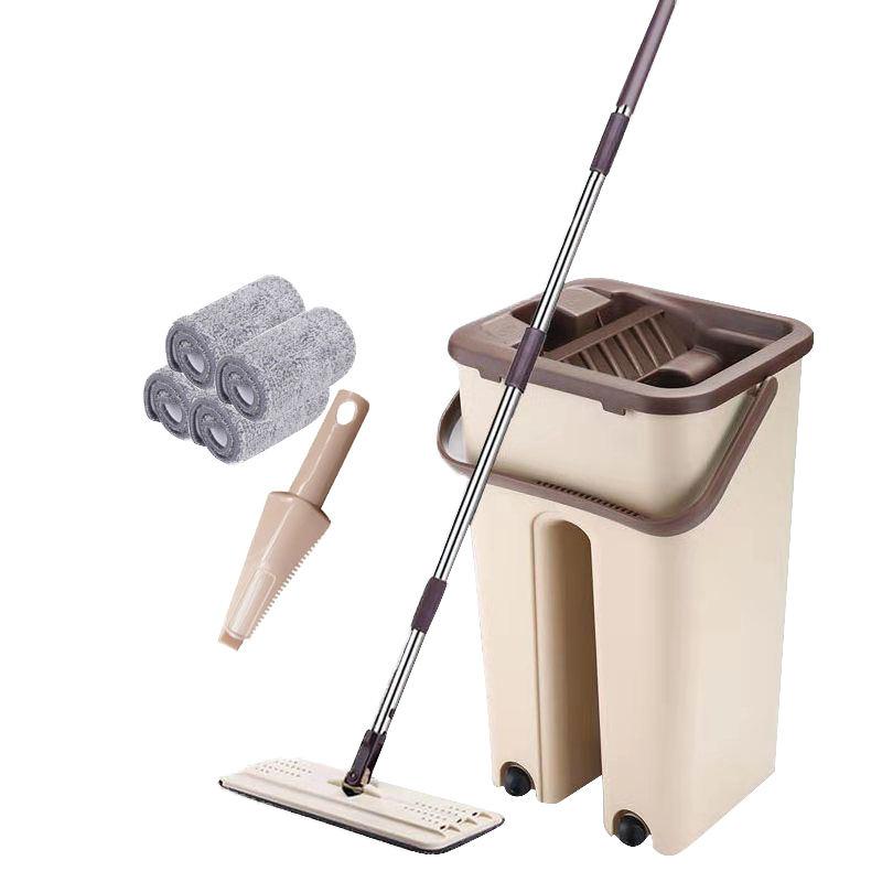 magia fácil de microfibra limpia húmeda de trapeadores y cubo limpiador de auto-limpieza Cubo de fregona con escurridor