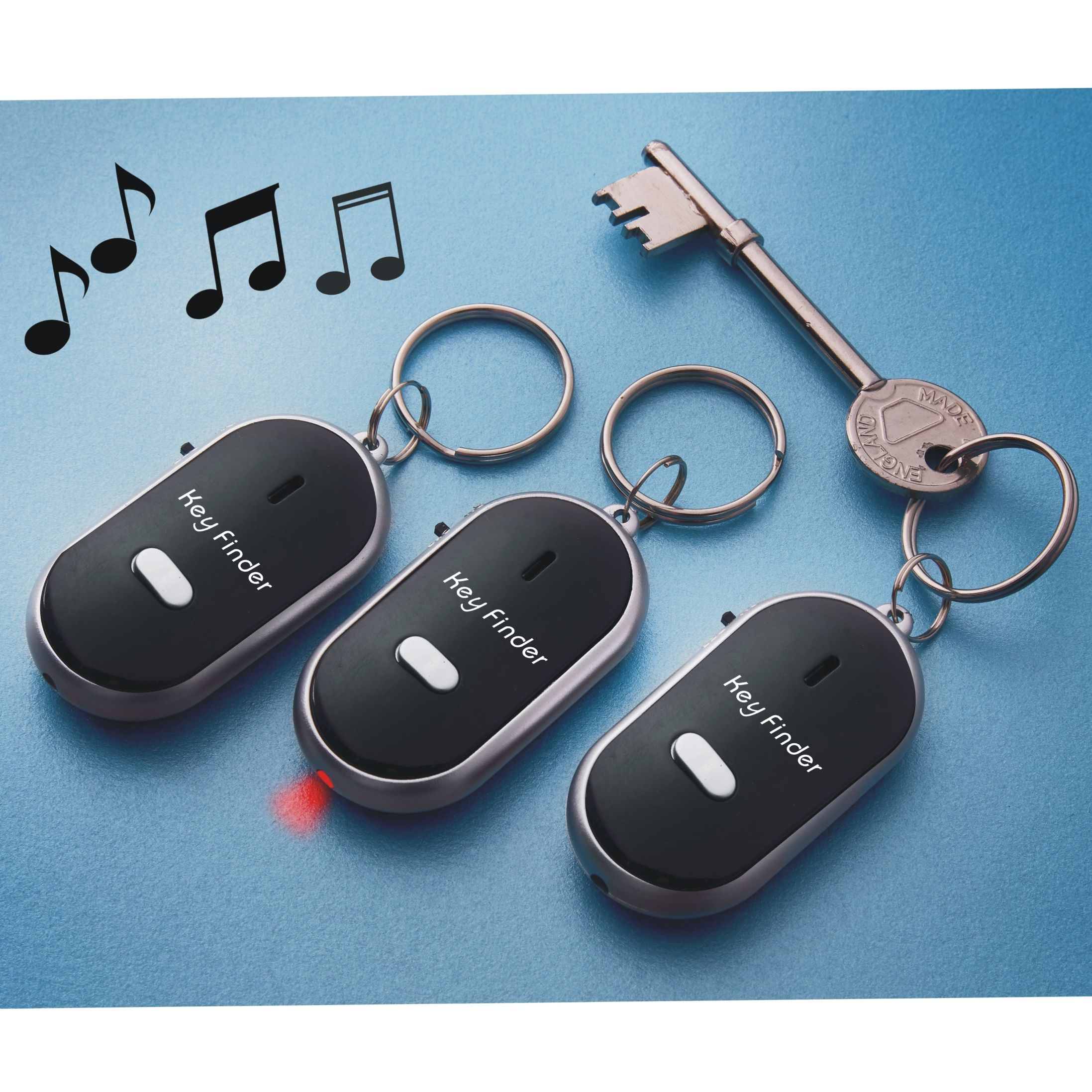 Set of 3 Whistling Key Finder With LED Light. Anti-Lost Device for Phone, Keys, Luggage, Wallets etc.