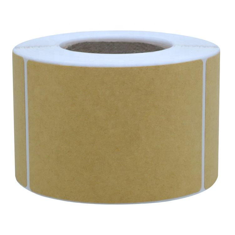 "Hybsk 2"" x 3"" Brown Kraft Rectangle Color Code Labels/Permanent Adhesive/Write On Labels - 300 Labels Per Roll"