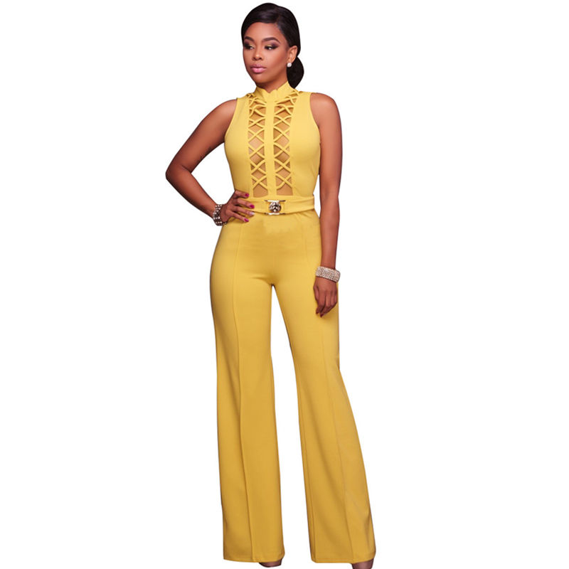 Custom Logo Lace Up Sleeveless Ladies Casual Bodycon Clothing Women Flare Pants Jumpsuit Sets
