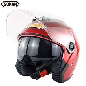 OEM SOMAN Motorcycle with clear double lens riding motorbike half face helmet customize SM517