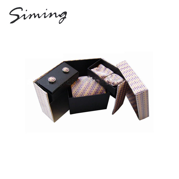 Wholesale polyester fashionable luxury cufflink tie gift sets for men in a box