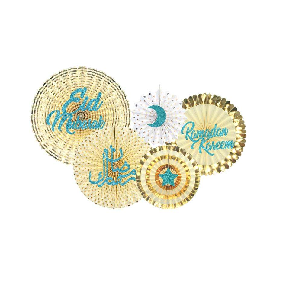 Eid Mubarak New Product Hanging Banner Paper Fan Gold & Green Moon Star Paper String Ramadan Decorations Fiesta
