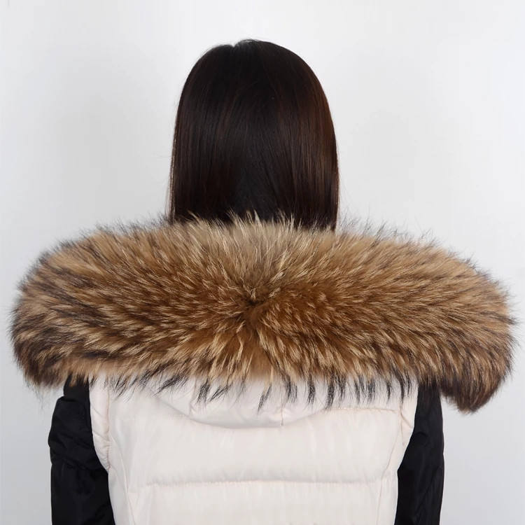 100% Real Fox/Raccoon Big Fur Collar For Hooded Coat Fur Trim For Coat
