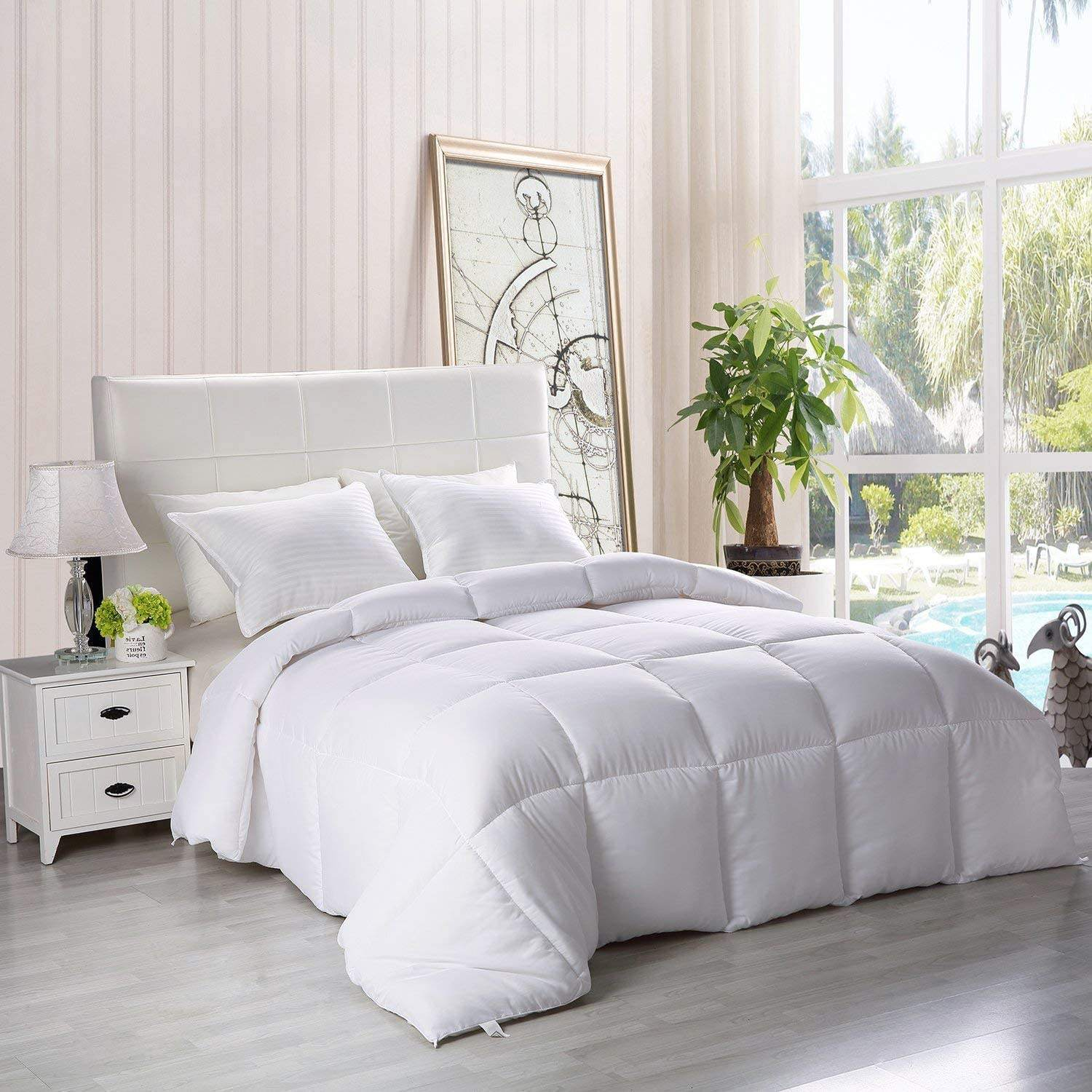 Wholesale Luxury White Goose Down Comforter 100% Cotton Cover Quilted Duvet Insert Down Alternative for All Season