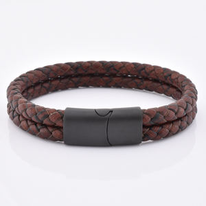 Mens Dei Monili Trendy Brown Uomo Vintage In Pelle Intrecciata Wristband Del Braccialetto