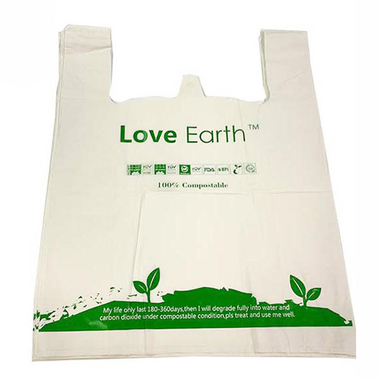 Custom Vest Carrier Plastic Bag /T-shirt Shopping Bags 100% Bioddegradable Grocery Bag Cornstarch Starch