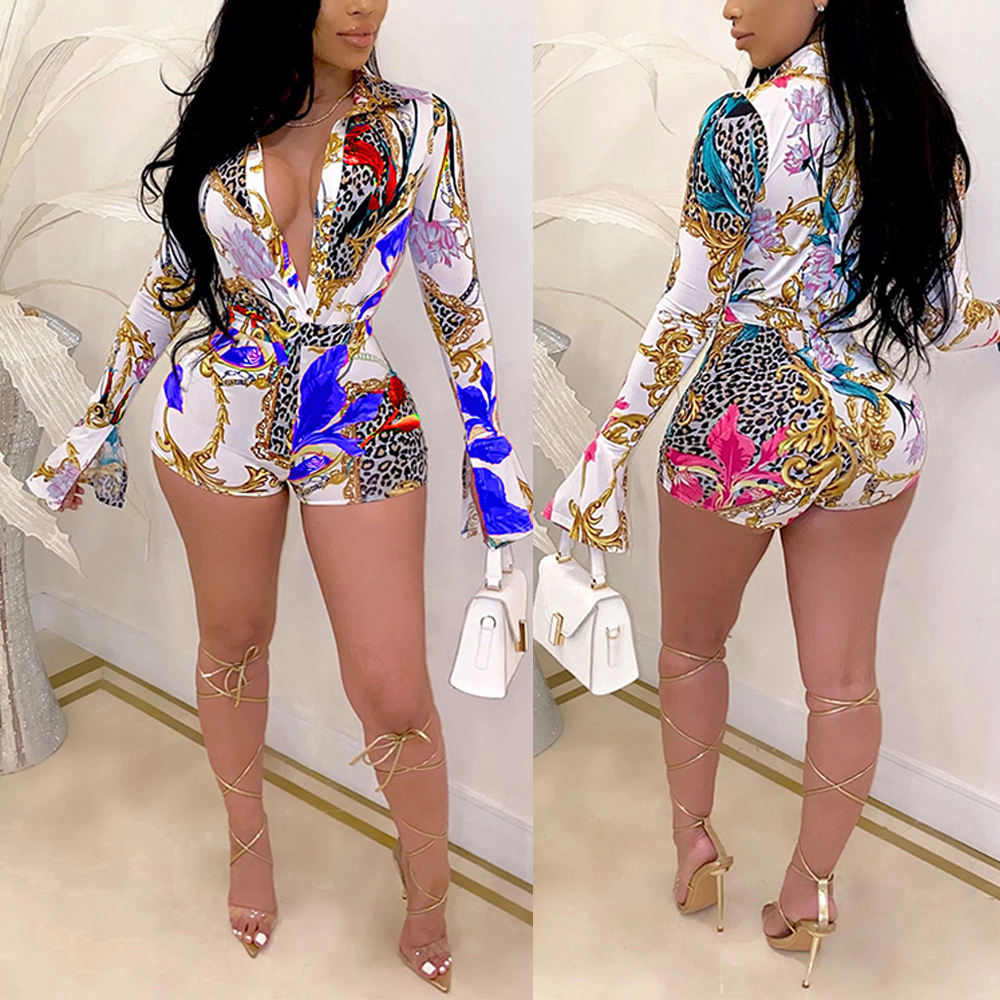 2020 New Fashion Women Floral Print Cardigan Tailored Collar Plus Size Jumpsuit And Rompers