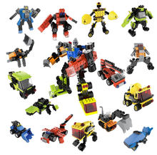 Mini bricks toys 3 in 1 engineer & robot mini plastic building blocks