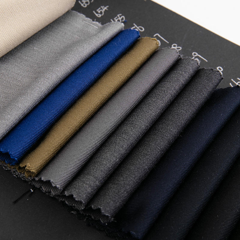 Quality woven plain dyed polyester rayon spandex material blend stretch men suit fabric