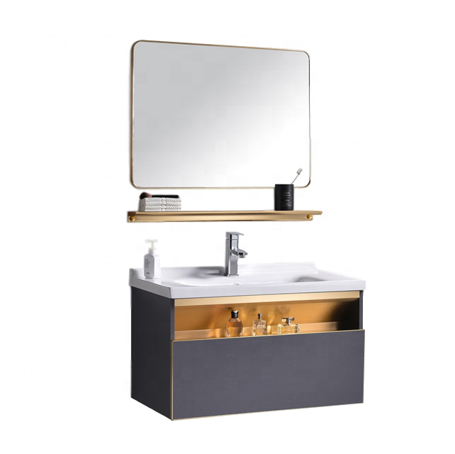 High Quality Wood Assembled Bathroom Vanity Modern With Super Storage Drawer Single Sink Basin Cabinet
