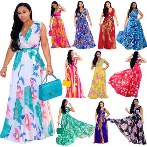 LF-182 African Kitenge Dress Designs Ladies Dress Casual Sleeveless Floral Summer Long Maxi Dress Woman Fashion