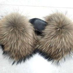 Factory wholesale pvc slides ladies raccoon fur slippers women soft real fox fur slides