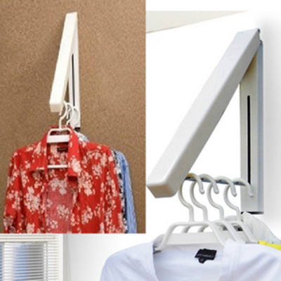 Metal Wall Mounted Clothes Hanger Easy Installation Balcony Folding Clothes Drying Rack For Laundry room Closet