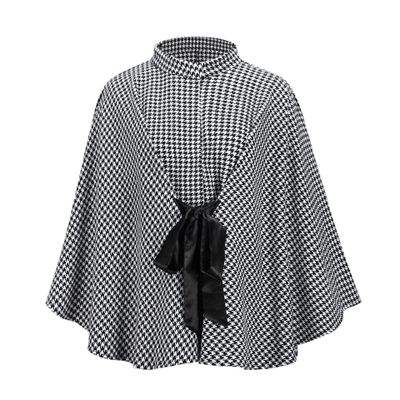 Ladies Fashion Plaid Coat Loose Cloak Top One Size a Cape Jacket