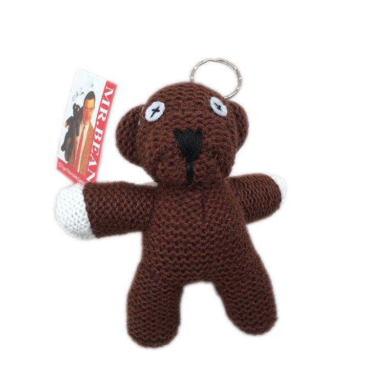high quality knitted animal Stuffed doll Soft mr bean cartoon teddy bear toy pendant child gift small plush toys Key buckle