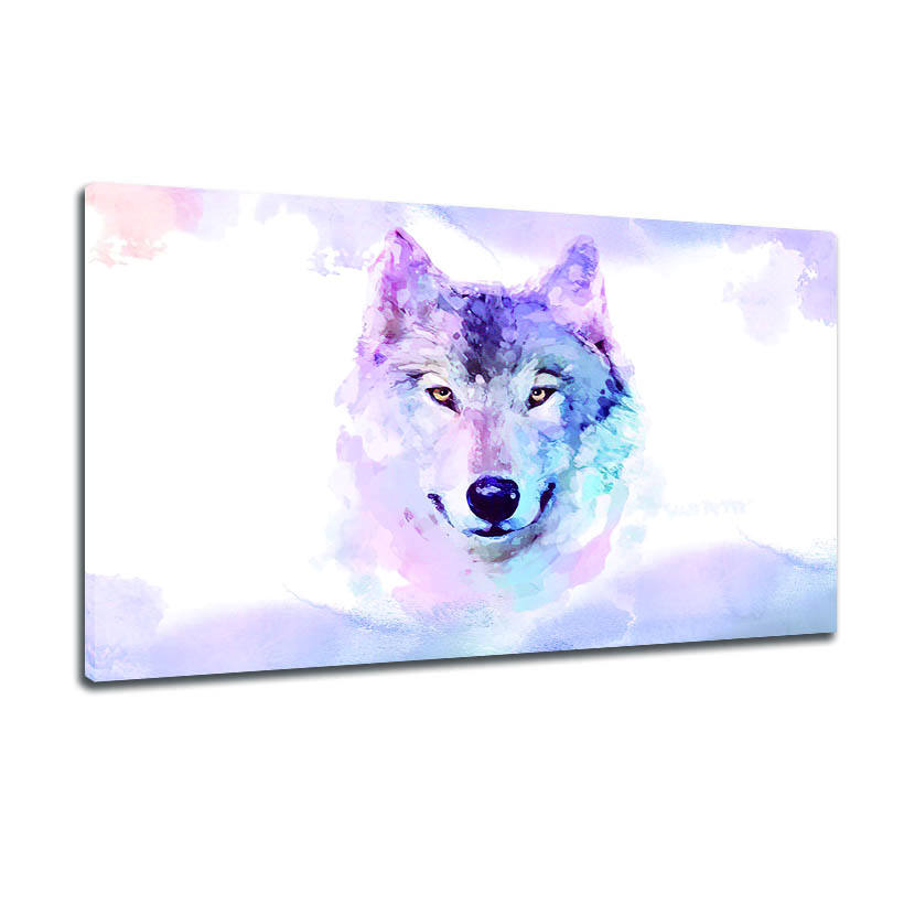 Canvas Art Prints Colorful Watercolor Wolf Print Canvas Portrait Living Room Bedroom Decoration Murals