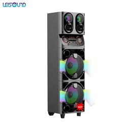 LEISOUND 2020 latest Most popular double 10 inch rechargeable battery subwoofer pull road  trolley dj party speaker