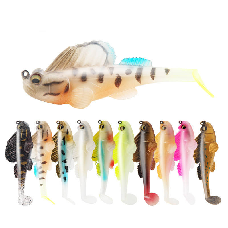 2021 New Artificial Soft Lures 85ミリメートル14グラムColorful Fish Baits Fishing LureとHook Sinking Silicone Bait T Tail Fishing Wobblers