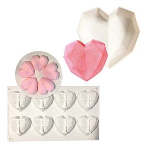 Food grade diamond heart shaped mousse mold silicone candy chocolate cake baking mould silicone mousse cake mold