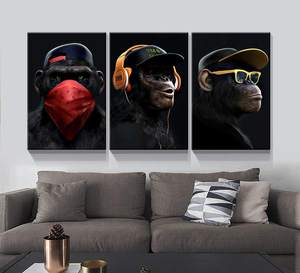 Listen to Music Gorilla Wall Decor 3 Panel Oil Painting Wall Art Modern Painting custom canvas print art sets For Living Room