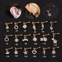 18k gold plated titanium steel body jewelry ear piercing earrings studs lady screw earrings jewelry