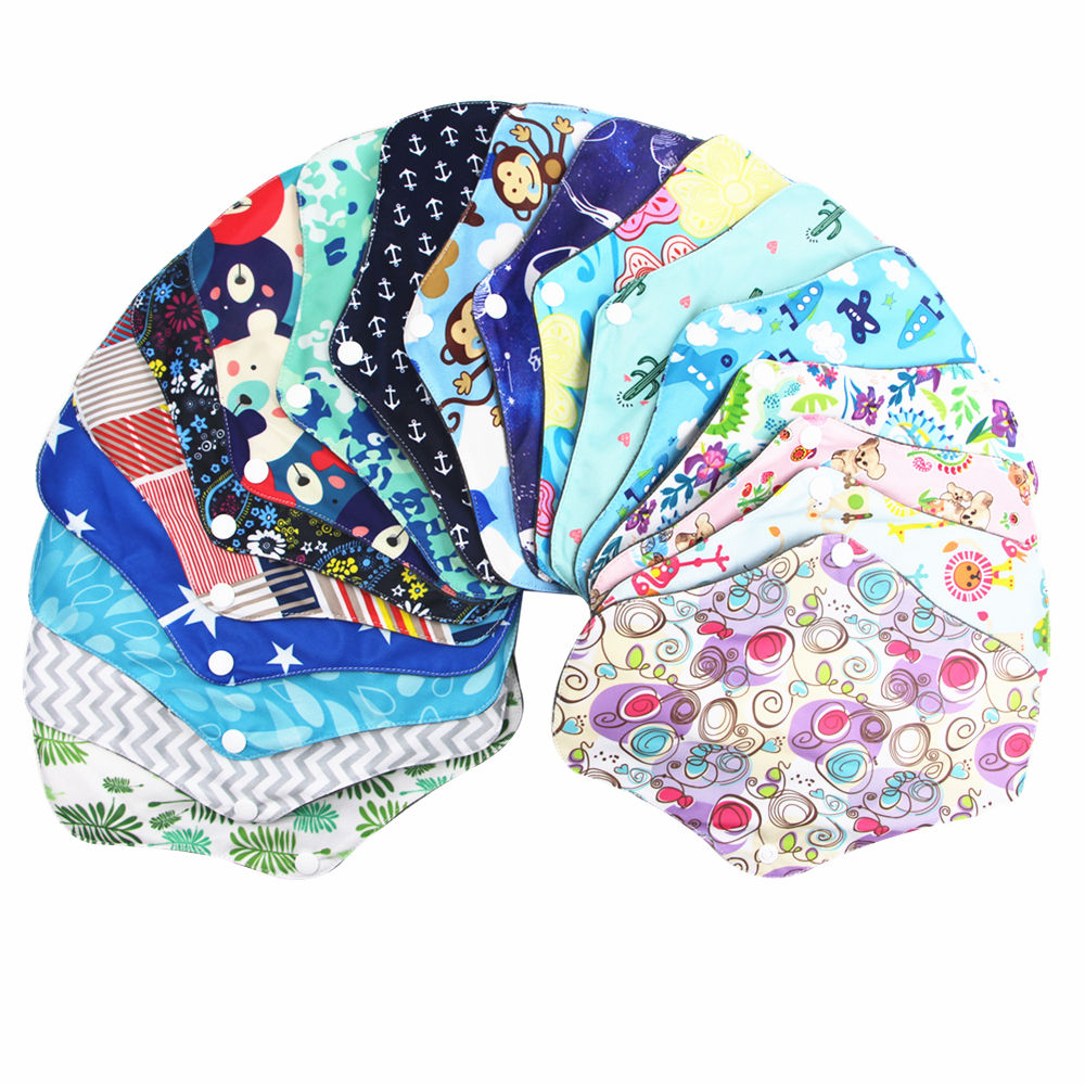 Asenappy Eco-friendly Reusable Washable Cloth menstrual pads Bamboo charcoal Breathable Sanitary Napkins pads