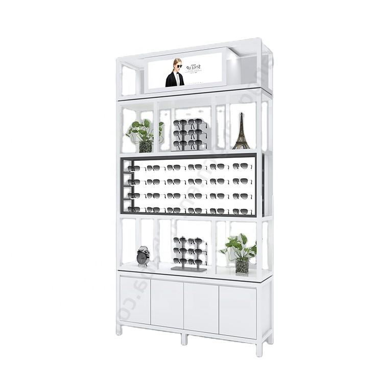 Optical shop design wall shelf decorations retail store eyewear cabinet showcase glasses display stand