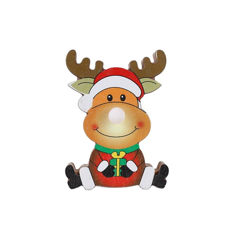 Desktop Wooden Christmas Decoration Glowing Indoor Home Ornamentation