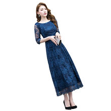 Wholesale Luxury Plus Size Three Quarter Sleeve O-neck Tea-length Blue Lace Homecoming Dress for Party