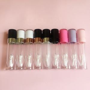 P-lan Stock Wholesale High Quality 8ml Lip Gloss Bottle Unique Pink White Black Top Round Liquid Lipstick Tube Empty Container