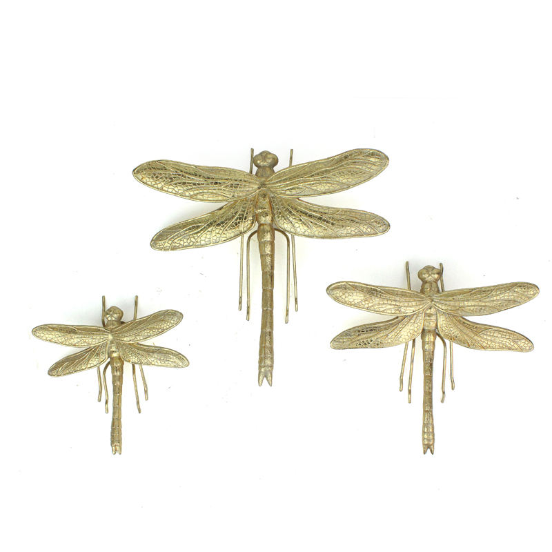 3D Dragonfly Insect Wall Hangdings Arts Stickers Home Decor Wholesales Resin Gold 7-10 Days 200pcs Shape T/T 30% Deposit