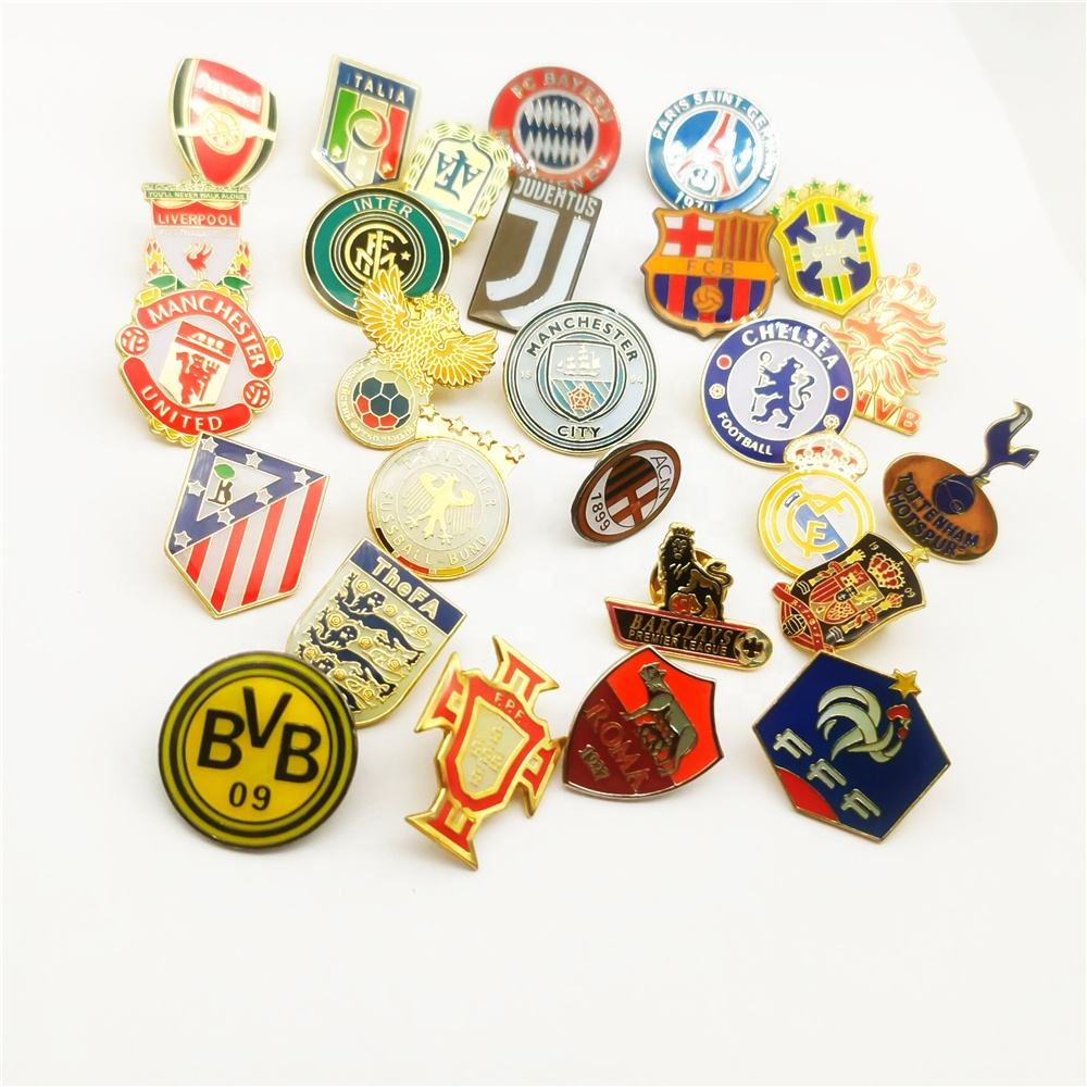 Football Club Logo Badge Champions League Nationale <span class=keywords><strong>Team</strong></span> Custom Metal Enamel Reversspeldjes
