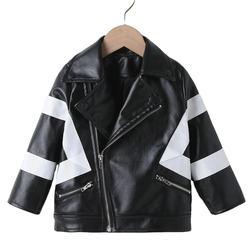Toddler baby  warm Striped Zip Up PU Moto Jacket
