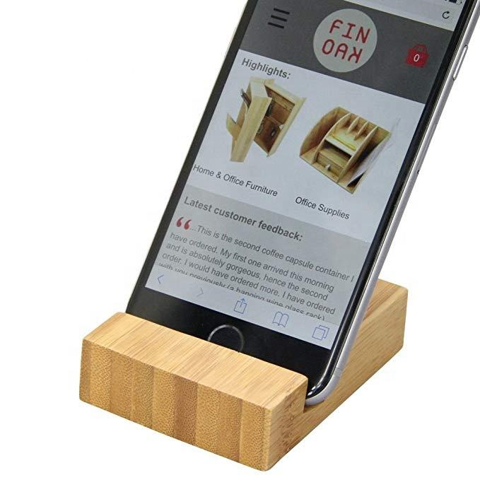 Wholesale high quality desk mobile phone stand custom logo wooden and bamboo cell phone holder smartphone holder