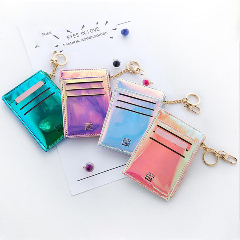 Fashionable Women Laser PU Card Holder Ladies Mini Zipper Keychain Purses