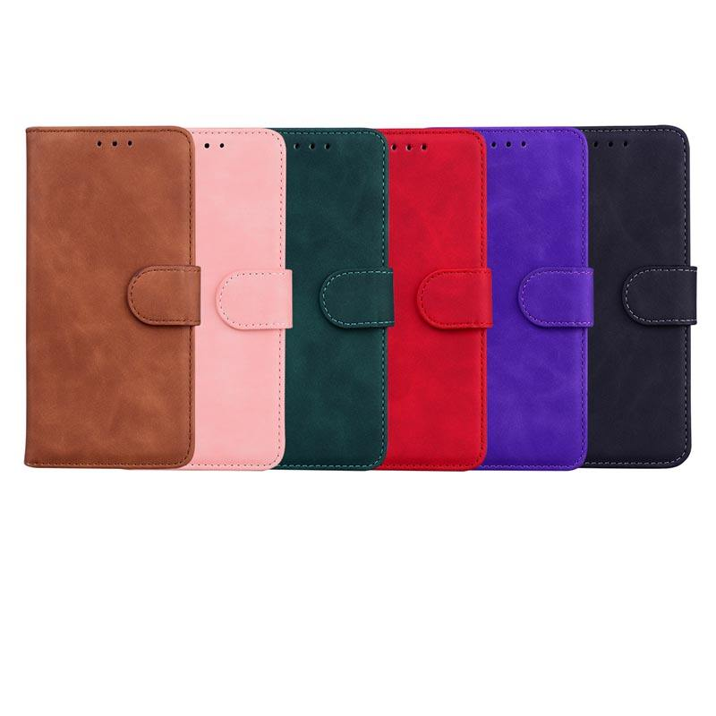 Huid Feel Leather Wallet Case Voor Samsung Galaxy S21 Case Ultra S21 Plus A42 A32 A12 5G Houder Magnetische flip Cover