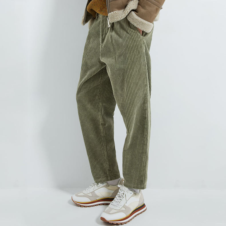 Custom spring army green loose chino corduroy pants for men