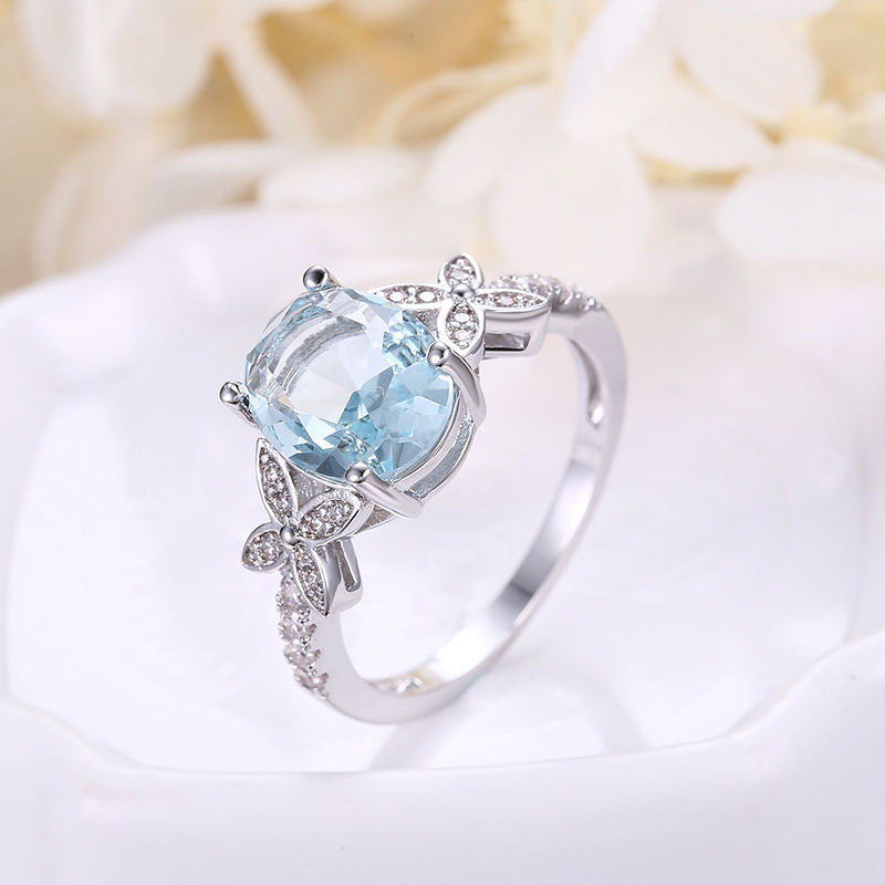 Seven.A SAR0029 Light Blue Zircon Latest Silver Gold Plated Simple Designs Fashion Simple Women Finger Rings